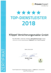 Proven Expert Urkunde TOP-Dienstleister 2018