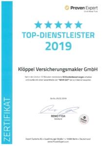 Proven Expert Urkunde TOP-Dienstleister 2019