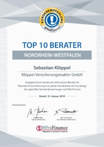 Who Finance TOP 10 Berater NRW Urkunde