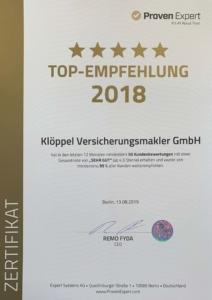 Proven Expert Top Empfehlung 2018