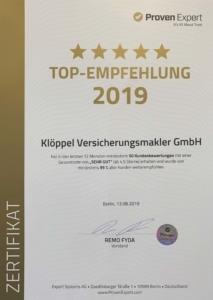 Proven Expert Top Empfehlung 2019